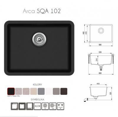 Aquasanita ARCA SQA102-601W Czarny metalik